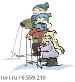 Семья на лыжах. Стоковая иллюстрация, иллюстратор ElenaGumerova / Фотобанк Лори