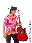 Купить «Man wearing sombrero with guitar», фото № 6572466, снято 6 октября 2013 г. (c) Elnur / Фотобанк Лори
