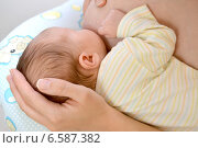 Купить «Женщина кормит младенца грудью», фото № 6587382, снято 11 октября 2014 г. (c) Ирина Борсученко / Фотобанк Лори