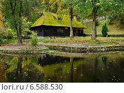 Купить «Деревянный дом с мхом на крыше», фото № 6588530, снято 22 октября 2014 г. (c) Сергей Старуш / Фотобанк Лори