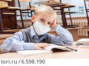 Купить «Мальчик в медицинской одноразовой маске за партой в школе», фото № 6598190, снято 20 октября 2014 г. (c) Владимир Мельников / Фотобанк Лори