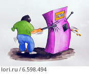 Купить «Карикатура. Однорукие бандиты», иллюстрация № 6598494 (c) Олег Хархан / Фотобанк Лори