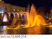 Купить «Шоу поющих фонтанов на центральной площади Еревана. Армения», фото № 6600514, снято 4 июля 2013 г. (c) Евгений Ткачёв / Фотобанк Лори