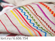 Купить «Национальные русские узоры на льняной ткани», фото № 6606154, снято 25 октября 2014 г. (c) Айнур Шауэрман / Фотобанк Лори