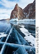 Купить «Байкал зимой. Гладкий лед у скал Трех Братьев», фото № 6606478, снято 26 марта 2011 г. (c) Виктория Катьянова / Фотобанк Лори