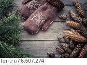Купить «mittens, cones and pine branch on a wooden background», фото № 6607274, снято 26 октября 2014 г. (c) Майя Крученкова / Фотобанк Лори