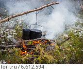 Приготовление пищи в тайге. Стоковое фото, фотограф Александр Романов / Фотобанк Лори