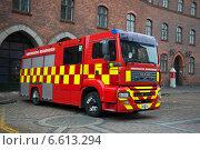 Купить «Пожарный MAN города Копенгагена.  Дания», фото № 6613294, снято 1 ноября 2014 г. (c) Виктор Карасев / Фотобанк Лори
