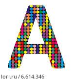 Купить «Разноцветная буква A в стиле диско на белом фоне», иллюстрация № 6614346 (c) Евгений Ткачёв / Фотобанк Лори
