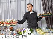 Купить «Waiter serving catering table», фото № 6621170, снято 25 сентября 2014 г. (c) Дмитрий Калиновский / Фотобанк Лори