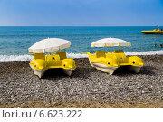 Купить «Желтые катамараны с зонтиками в виде дельфинов на берегу моря», фото № 6623222, снято 17 октября 2014 г. (c) Ольга Сейфутдинова / Фотобанк Лори