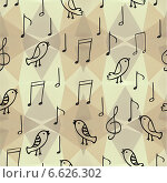Абстрактный фон с рисунками птиц и музыкальных нот. Стоковая иллюстрация, иллюстратор Дарья Столярова / Фотобанк Лори