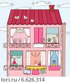 Рисунок фасада жилого дома. Стоковая иллюстрация, иллюстратор Дарья Столярова / Фотобанк Лори