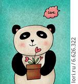 Панда с горшком. Стоковая иллюстрация, иллюстратор Дарья Столярова / Фотобанк Лори