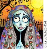 Лунная девушка. Стоковая иллюстрация, иллюстратор Борисенко Анастасия / Фотобанк Лори