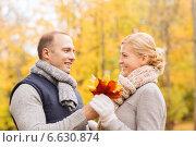 Купить «smiling couple in autumn park», фото № 6630874, снято 12 октября 2014 г. (c) Syda Productions / Фотобанк Лори