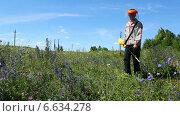 Купить «Мужчина косит траву газонокосилкой», видеоролик № 6634278, снято 5 ноября 2014 г. (c) Михаил Коханчиков / Фотобанк Лори
