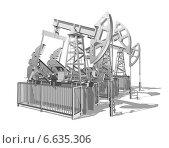 Купить «Нефтяные насосы, нефтекачалки 3d на белом фоне», иллюстрация № 6635306 (c) Дудакова / Фотобанк Лори