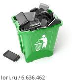 Купить «Mobile phones in trash can isolated on white background. Utilization cellphones concept.», фото № 6636462, снято 17 октября 2018 г. (c) Maksym Yemelyanov / Фотобанк Лори