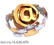 Купить «E-mail concept. Gold At symbol and envelopes isolated on white background. 3d», фото № 6636470, снято 22 июля 2019 г. (c) Maksym Yemelyanov / Фотобанк Лори