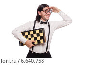Купить «Nerd chess player isolated on white», фото № 6640758, снято 25 ноября 2013 г. (c) Elnur / Фотобанк Лори