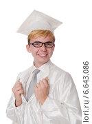 Купить «Young male student graduated from high school on white», фото № 6643086, снято 17 января 2014 г. (c) Elnur / Фотобанк Лори