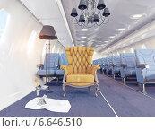 Купить «Роскошное кресло с шампанским в салоне самолета», иллюстрация № 6646510 (c) Виктор Застольский / Фотобанк Лори