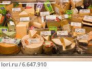 Купить «Сыр на прилавке магазина», фото № 6647910, снято 10 ноября 2014 г. (c) Victoria Demidova / Фотобанк Лори