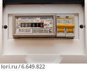 Купить «Показания счетчика электроэнергии энергосчетчик», фото № 6649822, снято 11 ноября 2014 г. (c) Измайлов Андрей Владимирович / Фотобанк Лори