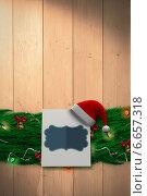 Купить «Composite image of fir branch christmas decoration garland», фото № 6657318, снято 25 мая 2020 г. (c) Wavebreak Media / Фотобанк Лори