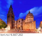 Купить «Cathedral of Saint Mary in evening. Toledo», фото № 6667202, снято 22 августа 2013 г. (c) Яков Филимонов / Фотобанк Лори