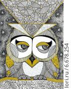 Сова. Стоковая иллюстрация, иллюстратор Борисенко Анастасия / Фотобанк Лори