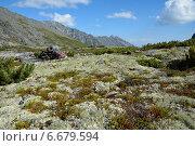Рюкзак лежит на высокогорном лугу Баргузинского хребта около озера Байкал. Стоковое фото, фотограф Пыткина Альбина / Фотобанк Лори