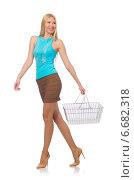 Купить «Woman in shopping concept isolated on white», фото № 6682318, снято 30 августа 2014 г. (c) Elnur / Фотобанк Лори