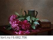 Натюрморт с пионами, кофейником и старой шкатулкой. Стоковое фото, фотограф Анна Губина / Фотобанк Лори