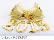 Купить «Золотые цифры 2015 и колокольчики», фото № 6685834, снято 28 июня 2012 г. (c) Владимир Ковальчук / Фотобанк Лори