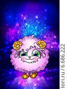 Купить «Открытка с овечкой - символом нового года», эксклюзивная иллюстрация № 6686222 (c) Александр Павлов / Фотобанк Лори