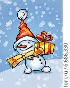 Купить «Снеговик с подарочной коробкой», эксклюзивная иллюстрация № 6686330 (c) Александр Павлов / Фотобанк Лори