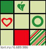Фон с простыми рисунками в квадратах. Стоковая иллюстрация, иллюстратор Tatiana Makhakhei / Фотобанк Лори