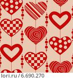 Бесшовный фон с сердечками. Стоковая иллюстрация, иллюстратор Tatiana Makhakhei / Фотобанк Лори