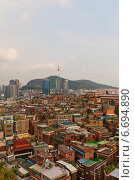 Купить «Вид горы Namsan, Сеульской Телебашни и города Сеул, Южная Корея», фото № 6694890, снято 27 сентября 2014 г. (c) Иван Марчук / Фотобанк Лори
