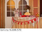 Пример украшения свадебного стола. Стоковое фото, фотограф Алёна Замотаева / Фотобанк Лори