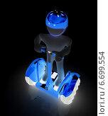 Купить «3D человек на светящемся сегвее в темноте», иллюстрация № 6699554 (c) Guru3d / Фотобанк Лори