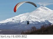 Купить «Полет на параплане на фоне Авачинского вулкана. Камчатка», фото № 6699802, снято 21 ноября 2014 г. (c) А. А. Пирагис / Фотобанк Лори
