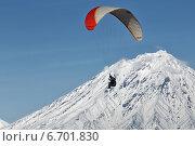 Купить «Полет на параплане на фоне Корякского вулкана. Камчатка», фото № 6701830, снято 21 ноября 2014 г. (c) А. А. Пирагис / Фотобанк Лори