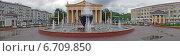 Драматический театр  и фонтан в Новокузнецке (панорама) (2014 год). Редакционное фото, фотограф Ирина Черкашина / Фотобанк Лори