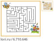 Пчела летит к цветам через лабиринт. Стоковая иллюстрация, иллюстратор Типляшина Евгения / Фотобанк Лори