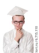 Купить «Young male student graduated from high school on white», фото № 6715110, снято 17 января 2014 г. (c) Elnur / Фотобанк Лори