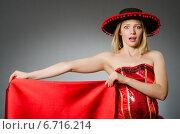 Купить «Woman wearing sombrero hat in funny concept», фото № 6716214, снято 6 августа 2014 г. (c) Elnur / Фотобанк Лори