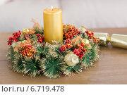 Купить «Close up of wreath with candles», фото № 6719478, снято 21 августа 2014 г. (c) Wavebreak Media / Фотобанк Лори
